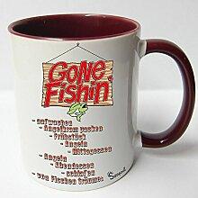 Angler Angel Fischer Premium Geschenk Tasse Keramik, Original Sunnywall ® Geschenkidee (11-Tasse Angeltag Rotbraun)