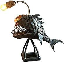 Anglerfisch Lampe, Schmiedeeiserne Tischlampe,