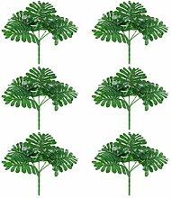 Angoily 6Pcs Künstliche Grüne Pflanze Faux