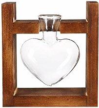 Angoily Herz Liebe Glasvase mit Holzständer