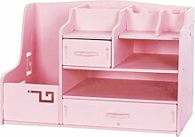 Anguang Desktop Multifunktionale Holzschublade Aufbewahrungsbox Dekoration Bürobedarf Finishing Box Pink