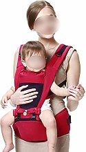 ANHPI Babytrage Rucksack Ergonomisches Design Atmungsaktive Mesh-Einlage Adjustable Mehrzweck- Rucksack Wrap Babyhalter Safe Comfort,WineRed