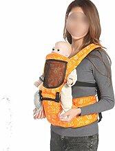 ANHPI Babytrage Rucksack Ergonomisches Design Atmungsaktive Mesh-Einlage Abnehmbar Abnehmbarer Sitz Komfort Tresor,Orange