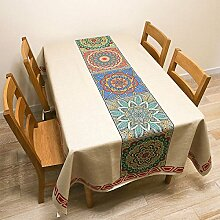 ANHPI Minimalistisch Ethnische Art Baumwollmischungen Nach Hause Einfach Terrasse Tischdecke Multi-Größe Mehrfarben Ornamental Design,B-100*140cm