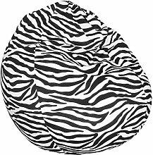 Animal Sitzsack - Tierfellmuster / Tierfellmotiv Sitzbirne in Tropfenform 75x95cm, Zebra
