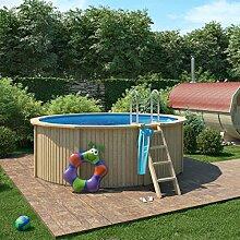 animalmarketonline Garten Werkzeug Pools und Zubehör Pool aus Holz Claas mit Wand aus Stahl mit Filter A Sand 360x 120cm–Edelstahl