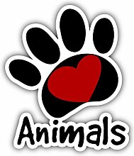 Animals Paw Love Heart - Self-Adhesive Sticker Car
