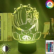 Anime Lichter 3D LED, Anime Rem Re Zero Figur