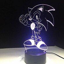 Anime Sonic The Hedgehog Figur 3D LED Tischlampe