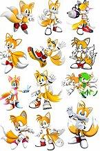Anime Stickers 12 Stück Sonic The Hedgehog Sonic