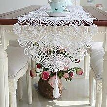 Anjcd Tischläufer Moderne Einfachheit Esstisch Schlafzimmer Tee Tisch TV Schrank Weiße Spitze ( größe : 40*180cm )