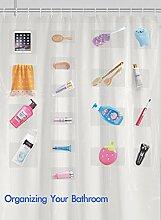 Anjee Clear Duschvorhang mit 17 Taschen |