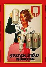 Anjoes Spaten Bräu Bier München Blechschild
