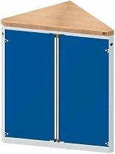 ANKE Material- und Werkzeugausgabetheke - 2 Türen, 2 Fachböden, dreieckig, grau/blau - Ausgabetheken Ausgabetheken Thekenschränke Thekenschränke Werkzeugausgabetheken Werkzeugausgabetheken