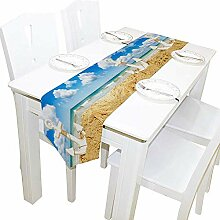 Anker und Seestern auf Sommer Strand Tischläufer,