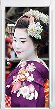 Anmutige Geisha mit Fächer als Türtapete, Format: 200x90cm, Türbild, Türaufkleber, Tür Deko, Türsticker