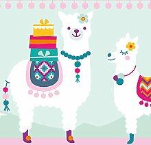 anna wand Bordüre selbstklebend AMAZING ALPACAS - Wandbordüre Kinderzimmer / Babyzimmer mit fröhlichen bunten Alpakas - Wandtattoo Schlafzimmer Mädchen & Junge, Wanddeko Baby / Kinder