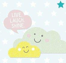 anna wand Bordüre selbstklebend HAPPY CLOUDS – Wandbordüre Kinderzimmer / Babyzimmer mit Wolken, Sonne und Sternen in Pastelltönen – Wandtattoo Schlafzimmer Mädchen & Junge, Wanddeko Baby / Kinder