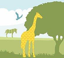 anna wand Bordüre selbstklebend HELLO AFRIKA - Wandbordüre Kinderzimmer / Babyzimmer mit Afrika-Tieren in versch. Farben - Wandtattoo Schlafzimmer Mädchen & Junge, Wanddeko Baby / Kinder