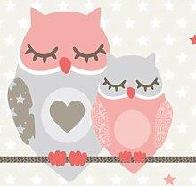 anna wand Bordüre selbstklebend OWL STARS GIRLS - Wandbordüre Kinderzimmer / Babyzimmer mit Eulen & Sternen in Rosa-Taupe - Wandtattoo Schlafzimmer Mädchen & Junge, Wanddeko Baby / Kinder