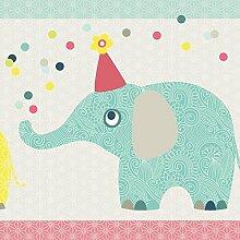 anna wand Maxi-Bordüre selbstklebend FAMILY ELEPHANT - Wandbordüre Kinderzimmer / Babyzimmer mit Elefanten in versch. Farben - Wandtattoo Schlafzimmer Mädchen & Junge, Wanddeko Baby / Kinder