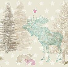 anna wand Maxi-Bordüre selbstklebend FOREST ANIMALS - Wandbordüre Kinderzimmer / Babyzimmer mit Wald-Tieren in Beige-Tönen - Wandtattoo Schlafzimmer Mädchen & Junge, Wanddeko Baby / Kinder