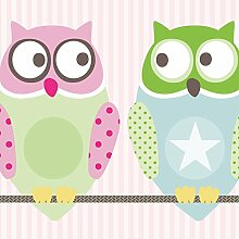 anna wand Maxi-Bordüre selbstklebend KLEINE NACHTEULEN GIRLS - Wandbordüre Kinderzimmer / Babyzimmer mit Eulen in versch. Farben - Wandtattoo Schlafzimmer Mädchen & Junge, Wanddeko Baby / Kinder