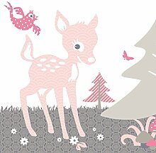 anna wand Maxi-Bordüre selbstklebend REHLEIN ROSA/TAUPE - Wandbordüre Kinderzimmer / Babyzimmer mit Reh & Waldtieren in versch. Farben - Wandtattoo Schlafzimmer Mädchen & Junge, Wanddeko Baby / Kinder