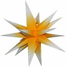 Annaberger Faltstern 58cm gelb mit weißen Spitzen