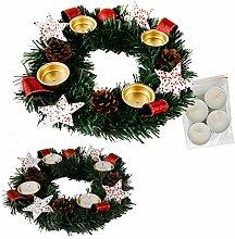 Annastore Adventskranz für Teelichter, fertig