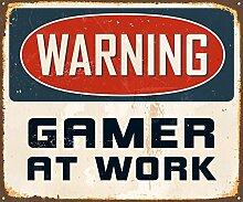 AnnaStoree Metall Schilder Warnung Gamer at Work