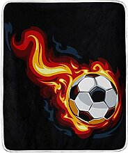 Annays Fleece Blanket Burn Soccer Ball Bed Sofa