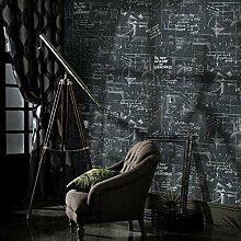 ANNDEEW 0.68m * 10 M Linie Tapete abstrakte schwarze Zeichen Buchstaben Hintergrundbilder Wallpaper Hintergrund der Studie das Wohnzimmer Blackboard