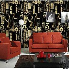 ANNDEEW 3D Stereo-blaue Tapete Tapete Mode schwarzen Buchstaben KTV Bar und Restaurant Zimmer video Wallpapers , 152402 light brown