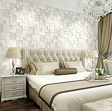 ANNDEEW Einfache 3D dicken Vlies-Tapete Wohnzimmer TV Schlafzimmer Bett Hintergrundbild , 65030 pearl white