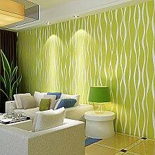 ANNDEEW Gestreifte Tapete warme Wohnzimmer Schlafzimmer grün 3D-Wand Vlies Tapete , wallpaper