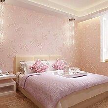 ANNDEEW Kontinentale pastorale 3D Vlies Tapete Tapete Schlafzimmer/Wohnzimmer TV Wand Dekoration Hintergrundbild , pink