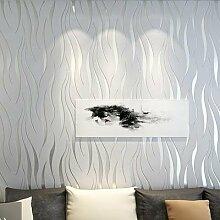 ANNDEEW Tapete Schlafzimmer/Wohnzimmer TV Hintergrund Tapeten Streifen Vlies dicken 3D dreidimensionale Welle Muster Tapete , silver