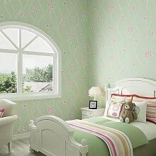 ANNDEEW Vliestapete grün Schlafzimmer warm 3D Wallpaper Schlafsaal/Wohnzimmer TV-Hintergrundbild , 2