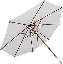 anndora Sonnenschirm, silber grau, 400 cm rund, Gestell Holz, Bespannung Polyester, 20 kg