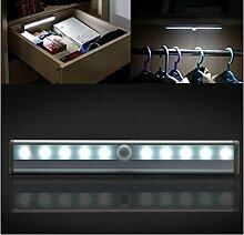 Anne 10LED-Nachtlicht batteriebetrieben PIR Motion Sensor Light Bar mit aufgeklebtem Magnetstreifen für Wandschrank Schrank Kleiderschrank Treppe