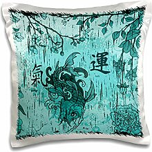 Anne Marie Baugh Oriental - A Turquoise Oriental Fish With Oriental Writing Meaning Luck and Energy - 16x16 inch Pillow Case (pc_152972_1)