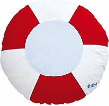 annette frank Rundkissen 50cm Rettungsring Kissen/Kissenbezug, Baumwolle, Rot-Weiß, 50 x 50 x 10 cm