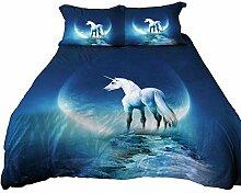 Anoleu Einhorn-Bettwäsche-Set für Einzelbetten,
