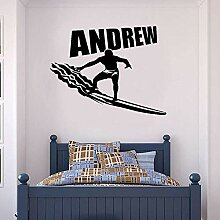 Anpassbarer Name Surfer Vinyl Wandtattoos Junge