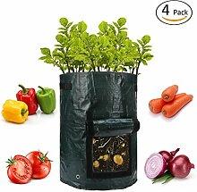 anphsin 4Stück 10Liter Garten, Kartoffel wachsen Taschen mit Patte und Griffe Belüftung Stoff Töpfe Heavy Duty