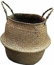 Anqeeso 1 Stück Gewebter Seegras Bauchnabelkorb
