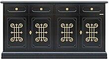 Anrichte in Schwarz mit goldenen Friese, Sideboard
