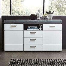 Anrichte in Weiß und Beton Grau 160 cm breit