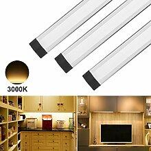 ANSCHE LED Unterbauleuchte Schrankleuchte, 3er LED Schrankbeleuchtung mit Stecker 12VDC, 1100LM Vitrinenbeleuchtung Küchenlampen Nacht Licht, Stufenlos-dimmbar, warmweiß 3000K, Kabellos Fernbedienung